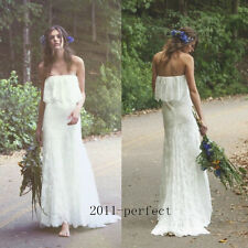 2017 White Ivory Wedding Dresses Summer Beach Strapless Bridal Lace Gown Custom