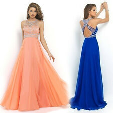 Ladies Chiffon Long Dress Evening Party Formal Bridesmaid Prom Ball Gowns Dress