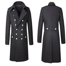 Chic Mens Military Wool Outerwear Double Breasted Trench Coat Overcoat Jacket SZ