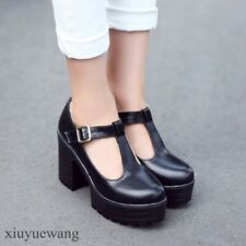 chic womens pu leather T-strap buckle chunky heels pumps dress shoes plus size #