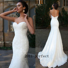 2017 Summer Simple Wedding Dresses White Ivory Lace Mermaid Bridal Gowns Custom