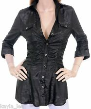 Black Ruched/Smock Button Front 3/4 Sleeve Tunic Top S