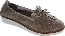 Cara London Adonis Women's Metallic Grey Goose Slip On Leather Tassle Loafers Ew