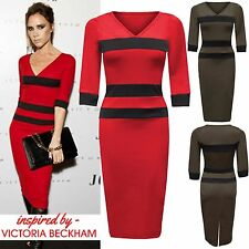 WOMENS STRIPED MIDI DRESS V NECK STRETCH BODYCON 3/4 SLEEVES TOP LADIES PARTY