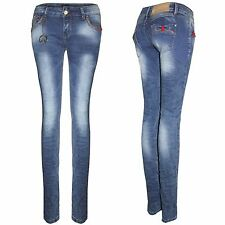 NEW LADIES CHAIN SKINNY JEANS WOMENS SLIM STRETCH BLUE DISTRESSED DENIM TROUSERS