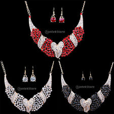 Prom Party Wedding Bridal Crystal Diamante Heart Necklace Earrings Jewelry Set