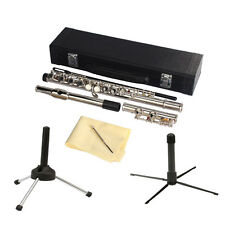 New 16 Closed Holes C Key School Band Flute with Flute Stand