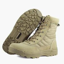 Side Zip Suede Leather Combat Work Fight Shoes Mens Tactical Desert Khaki Boots