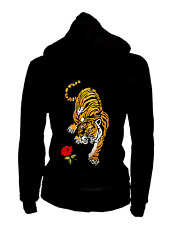 Junior Thin Stretch Zip Up Hoodie Roses & Tiger Patched Sweater Zip-Up Pockets