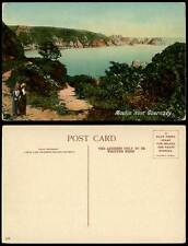 Guernsey Old Colour Postcard Moulin Huet Bay Rocks Seaside Women Channel Islands