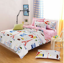 Eiffel Tower Single Queen King Size Bed Pillowcase Quilt Cover Duvet Cover Set