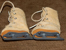 """Antique Vintage Old! Pair, Doll Ice Skates, 5 Hole Lace Up, 2-1/4"""" Metal Blades"""