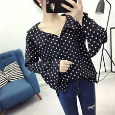 New Womens Ladies Polka Dot Print Trumpet Sleeves Pullover Blouse Tops Shirt