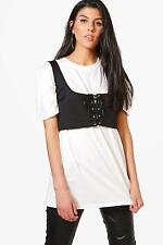 Boohoo Womens Taylor 2 In 1 Lace Up Corset Bralet T-Shirt