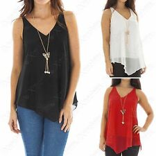 NEW WOMEN PLAIN CHIFFON TIERED LAYER VEST LADIES LINED CAMI TOP BLOUSE SIZE 8-18