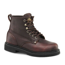 "Mens Brown 6"" Plain Toe Leather Work Steel Toe Boots BAT-615 Size 6-12 (D, M)"
