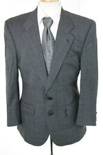 Burberry Mens Gray Plaid Collared Long Sleeve Blazer Jacket Size 46
