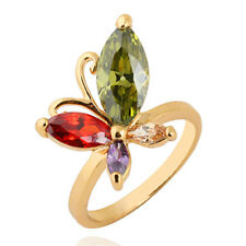 Colorful Cute Womens Butterfly Gold Filled Flower Crystal Ring Korean Fashion