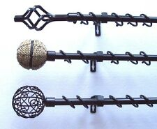 16/19mm Extendable Telescopic Black Curtain Pole 0.6 - 1.2m Cage Rope Ball Ends