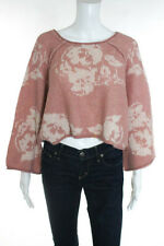 Free People Pink Ivory Boat Neck 3/4 Bell Sleeve Cropped Sweater Size Medium