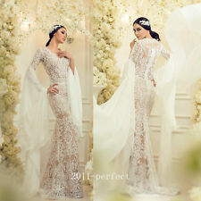 2017 Sexy Mermaid Wedding Dress White Ivory Lace Bridal Gowns Long Flare Sleeve