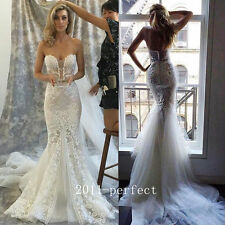 2017 Sexy Mermaid Wedding Dresses Lace Applique Strapless Bridal Gown Custom