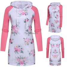 New Women Casual Hooded Long Sleeve Pullover Floral Patchwork Hoodies ED01