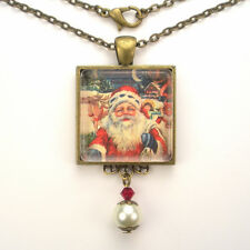CHRISTMAS SANTA CLAUS SLEIGH VINTAGE CHARM SILVER OR BRONZE ART PENDANT NECKLACE