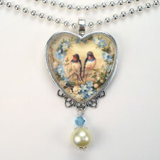 Swallow Bird Necklace Forget Me Not Heart Pendant Vintage Charm Art Jewelry
