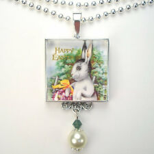 EASTER BUNNY RABBIT 'VINTAGE CHARM' SILVER or BRONZE PEARL ART PENDANT NECKLACE