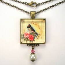 "CHARMING BIRD PINK ROSE ""VINTAGE CHARM"" BRONZE OR SILVER PENDANT NECKLACE"
