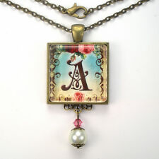 "INITIAL LETTER ~ A ~ MONOGRAM ""VINTAGE CHARM"" BRONZE OR SILVER PENDANT NECKLACE"