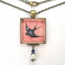 "BLUEBIRD ""VINTAGE CHARM"" BRONZE OR SILVER BLUE BIRD PINK ART PENDANT NECKLACE"