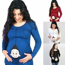 Pregnant Women T-shirt Lady Mother-to-be Long Sleeve Loose Top Maternity Clothes
