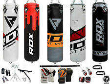 RDX  Leather Punching Bag Gloves Set Dual Boxing Station Kick MMA UnFilled 17 PC