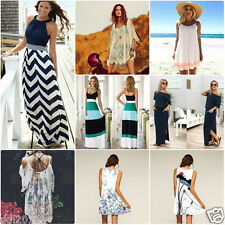2017 Women's Summer Boho Sleeveless Long Maxi Evening Party Beach Short Sundress
