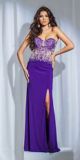 New Tony Bowls 115751 Sexy Purple Illusion Bodice Prom Pageant Formal Dress