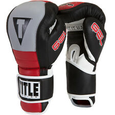 Title Boxing Gel Rush Custom Form Fit Hook and Loop Bag Gloves - Black/Gray/Red