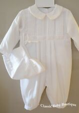 NWT Petit Ami White Longall Romper 6 9 Months Baby Boys Christening Baptism Hat