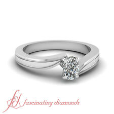 1/2 Ct Cushion Cut VVS2-D Color Diamond Swirl Tapered Solitaire Engagement Ring