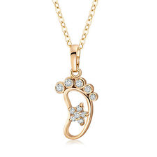 Fashion Forever Charms CZ 24K Gold Filled Feet Flip Flop Pendant Long Necklace