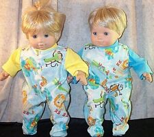"Doll Clothes Baby fit American Girl Bitty Twins 15"" inch Pajamas Elephant Monkey"