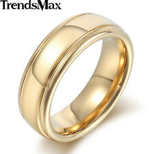 6mm Mens Boys Tungsten Carbide Gold Plated Polished US Sz 8-13 Wedding Band Ring