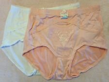 2 SHAPER ROSE BRIEFS White Pink Girdle Firm Control Waist Plus Panties 2X 3X 4X