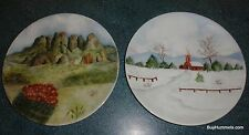 """Lot of 2 Arzberg Germany Hand Painted 10"""" Winter Church Desert Cactus Plates"""