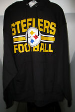 PITTSBURGH STEELERS NFL TEAM APPAREL PULLOVER BLACK FLEECE HOODIE WITH POUCH NWT