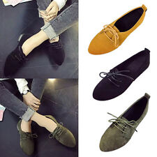 Women Summer Flat Suede Leather Lace Up Loafer Ladies Casual Oxford Single Shoes