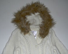NWT Children's Place girls faux fur ivory hoodie sweater cardigan 24m