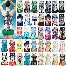 Women Graphic Vest Tank Top Summer Blouse Casual Sleeveless Stretch T-shirt