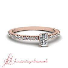 GIA Certified Radiant Cut Pave Set Diamond Rose Gold Engagement Ring 0.90 Ct